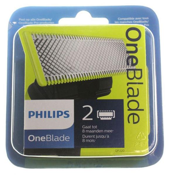 2 LAMES QP220/55 RASOIR PHILIPS OneBlade QP2520 QP6510