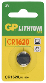 PILE BOUTON LITHIUM CR1620  3V