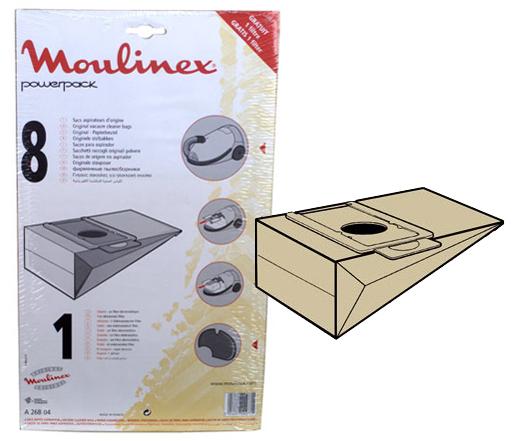 SACS ASPIRATEUR MOULINEX POWERPACK A26B04  X8