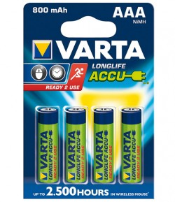 BLISTER 4 PILES LR03 AAA NiMh RECHARGEABLES 800mAh