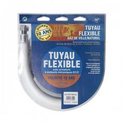 Flexible Gaz NATUREL filetage Gaz 1/2  Durée de vie 10 ANS  Longueur 1,50 Mètres
