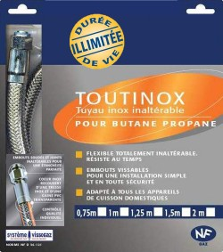 FLEXIBLE INOX GAZ Butane/Propane 2.00 M DUREE ILLIMITEE